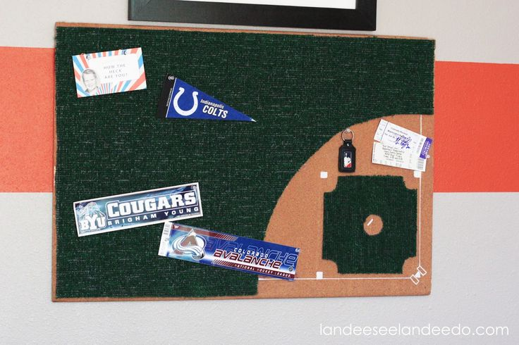 I shared my son's complete (almost complete) room makeover last week (you can see that HERE) and today I'm sharing how I made his baseball diamond bulletin board!   It is just a fun little baseball detail for his room that doesn't come off as too cutesy, you know?  So, first of …