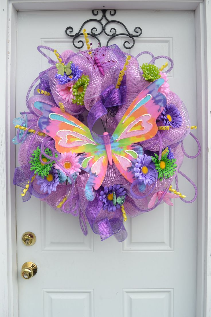 Colorful summer Butterfly Deco Mesh Wreath found on Etsy
