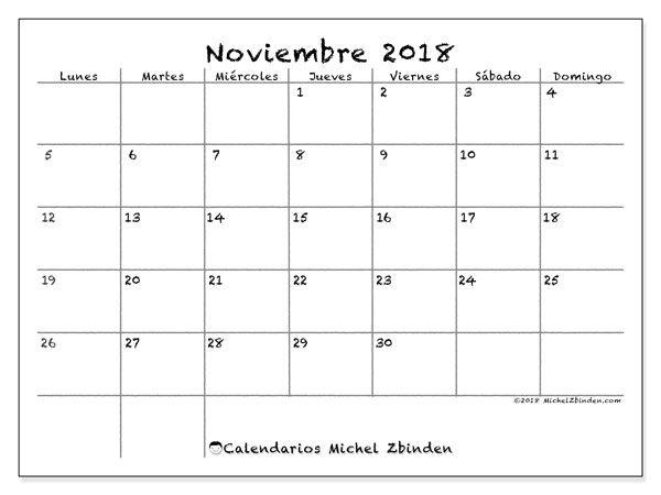 Calendario Noviembre 2018 77LD Calendarios Pinterest