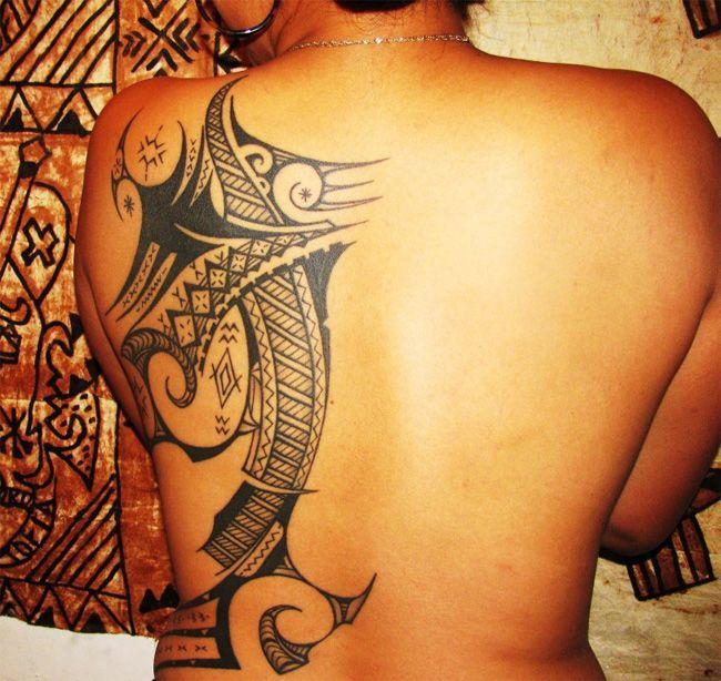 Great Polynesian Tribal Tattoo Design for Women