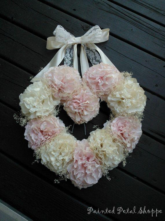 Coffee Filter Wedding Wreath/ Vintage Wedding/ Rustic Wedding/ Heart Wreath
