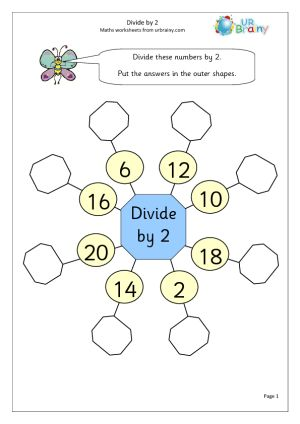 Divide by 2 (1) Division Maths Worksheets For Year 2 (age 6-7)