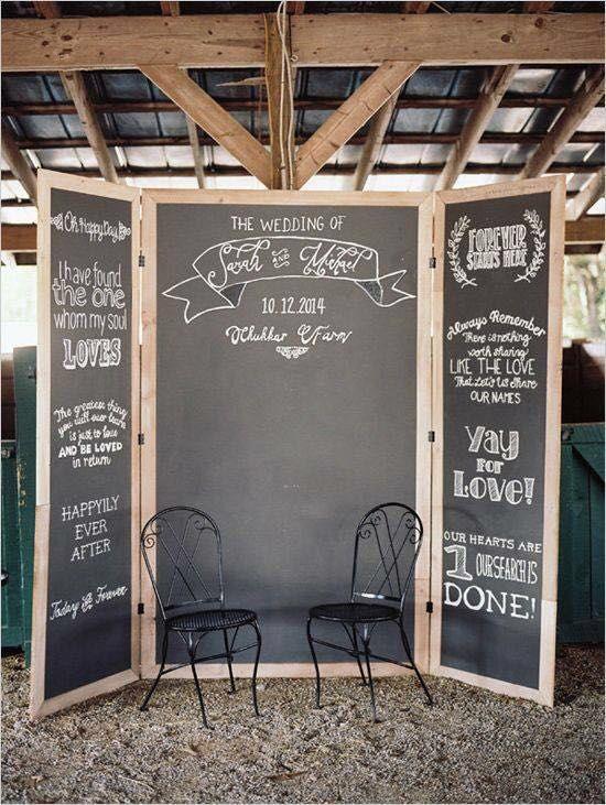 Chalkboard photo booth freestanding wall.