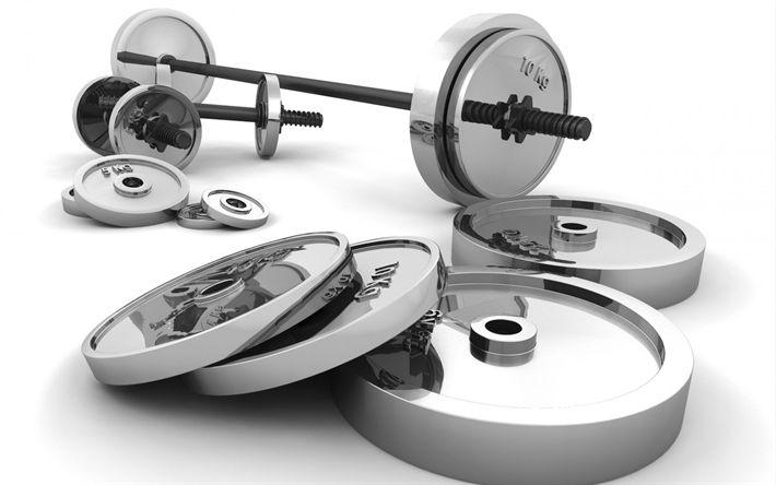Lataa kuva 3d-baari, 3d-käsipainot, rendering, kehonrakennus, kuntosali, urheiluvälineet