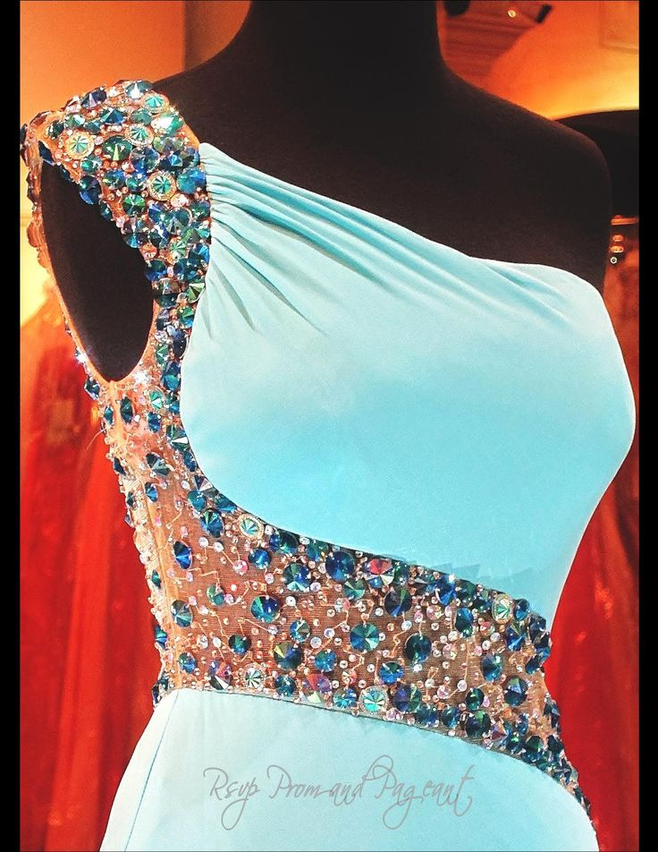Aqua Beaded One Shoulder Jersey Prom Dress-Illusion Back and Waistline-High Slit-115BP097800399