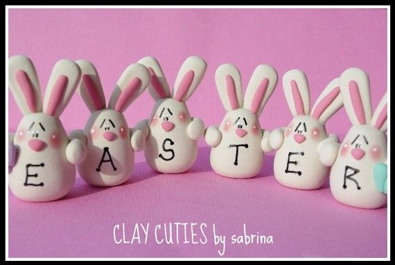 E A S T E R personalized Polymer Clay Bunny Decoration. by ClayCutiesbySabrina