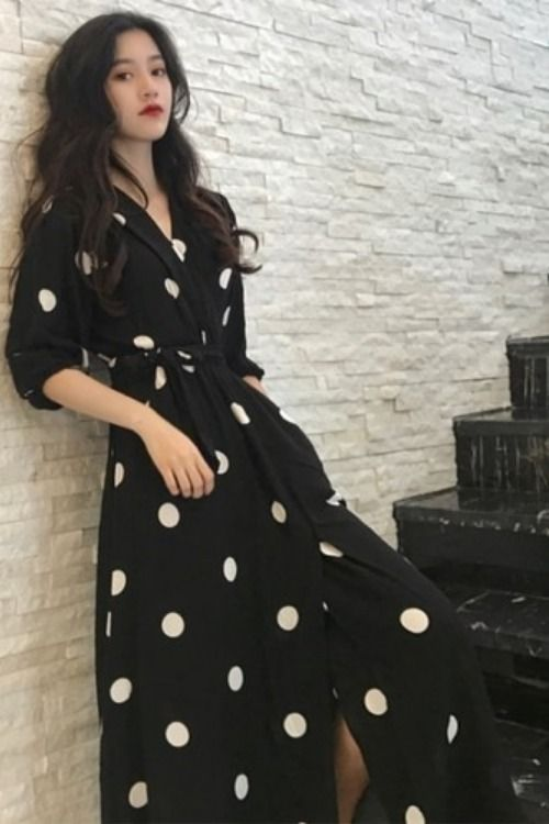 Summer Women New Style Fashion V-neck Long Casual Half Sleeve Dot Dress 2019