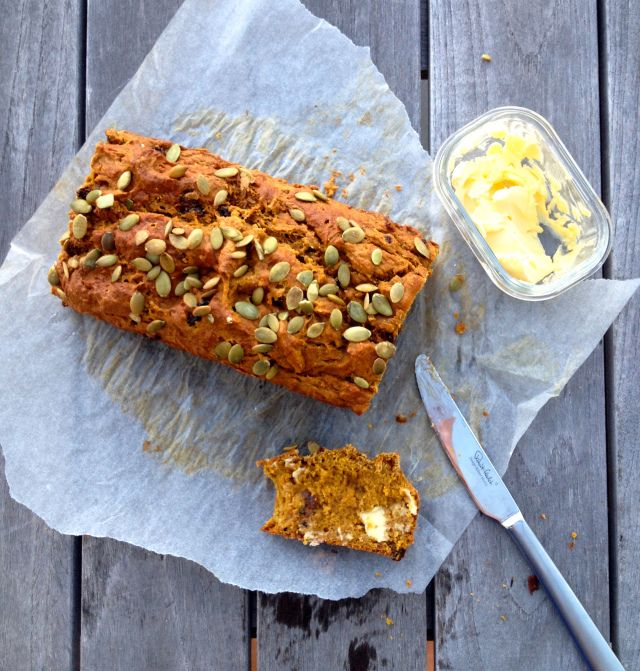 Delicious Pumpkin and Raisin Bread - wheat free and amazing. A beautiful snack for big and little people alike!