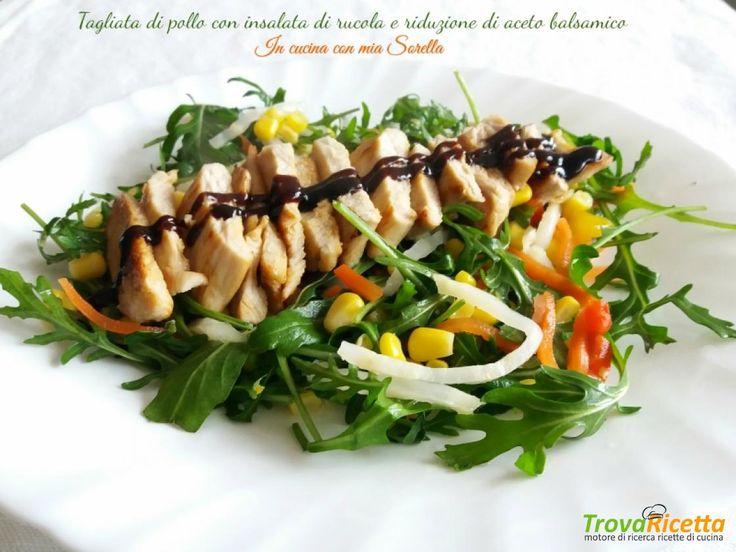 Tagliata di pollo con insalata di rucola e riduzione di aceto balsamico  #ricette #food #recipes