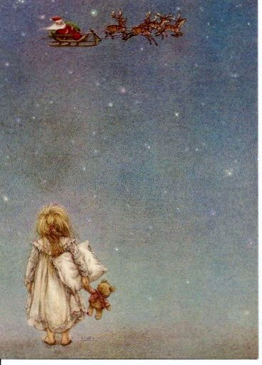 Lisi Martin:  Girl in jammies with pillow and teddy bear outside staring at Santa's sleigh flying through the sky