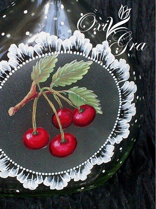 #OxiGra #butelka #ręcznie #malowana #wiśnia #wiśniówka #nalewke #bottle #hand #painted #cherry