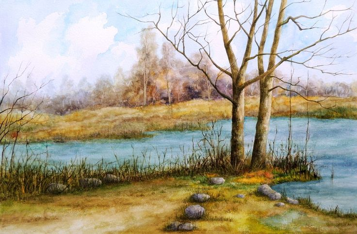 """A Bend in the River"", a water colour painting by a fine artist Bhanupratap Khare"