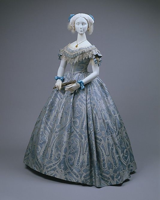 Silk and cotton ball gown ca. 1860