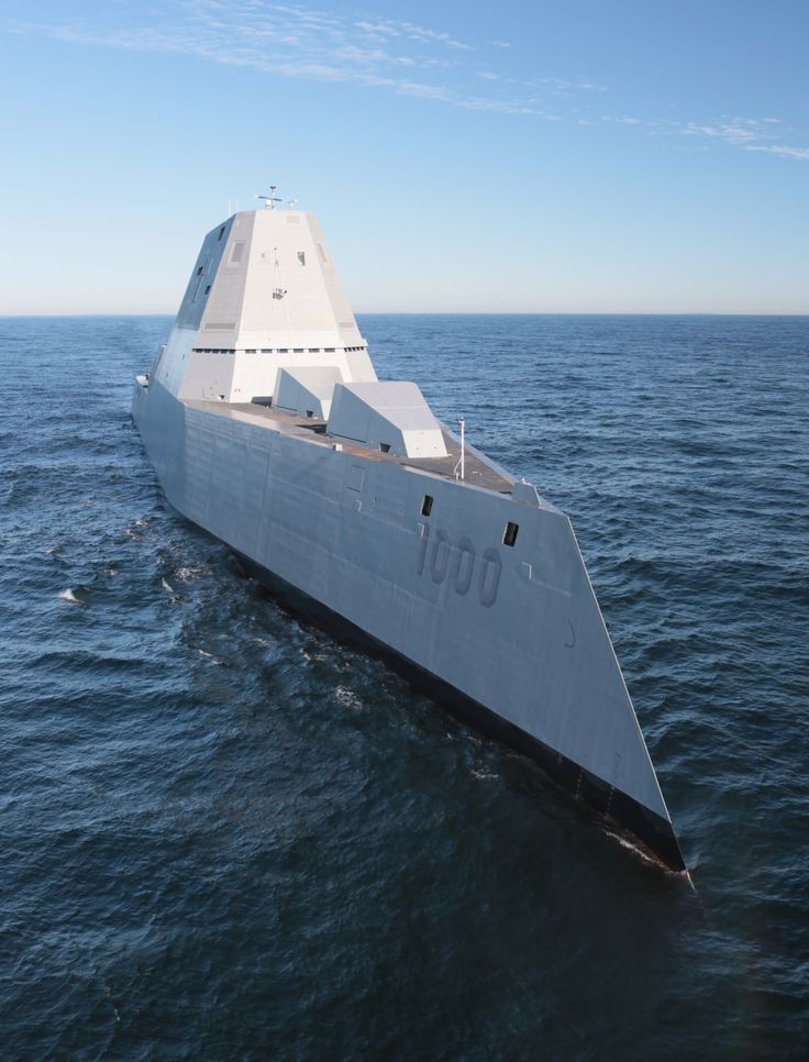 USS Zumwalt (DDG 1000) is underway for the first time conducting at-sea tests and trials in the Atlantic Ocean Dec. 7, 2015