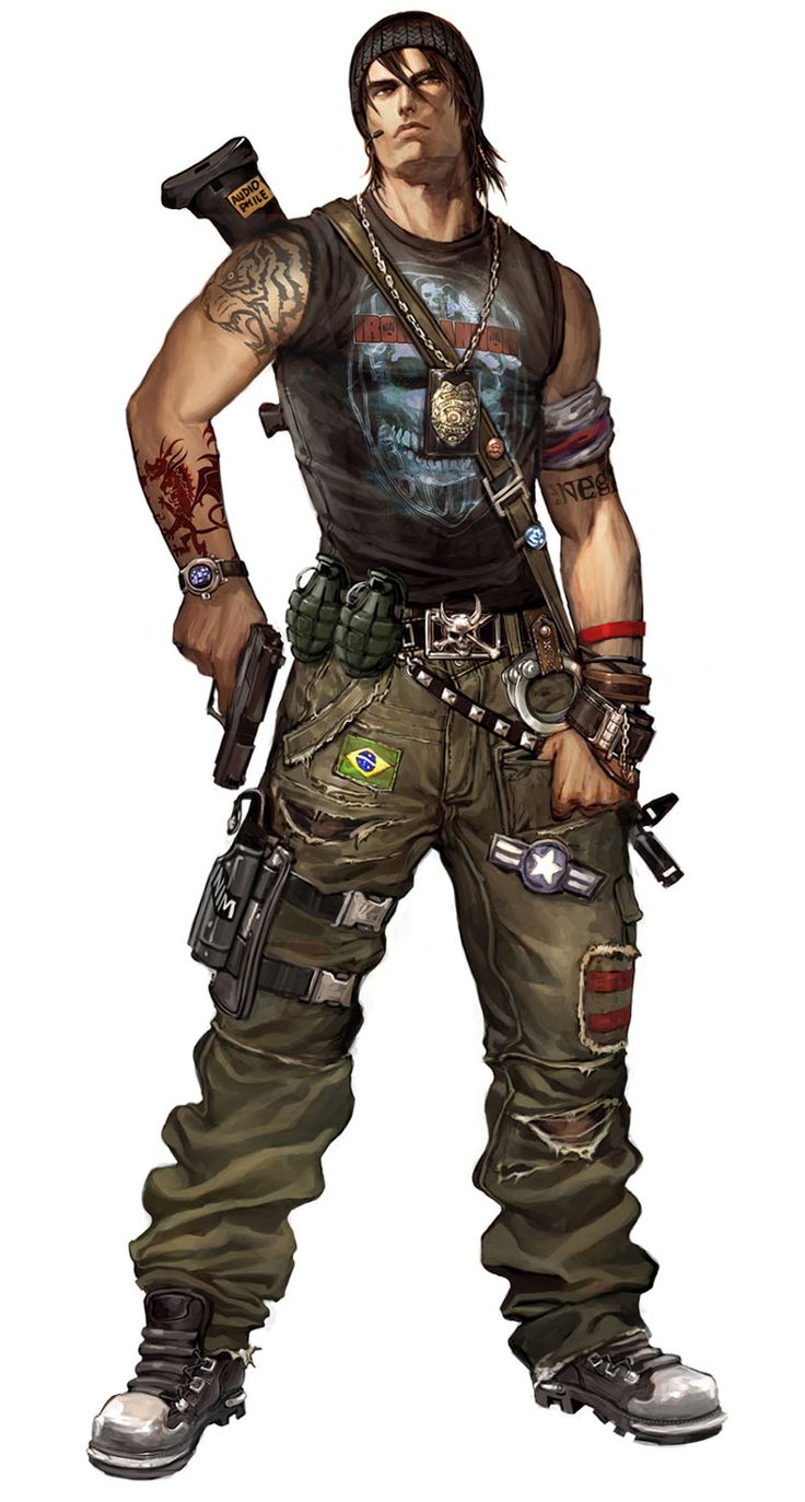 Character Art. Male Bounty Hunter. Urban or Cyberpunk