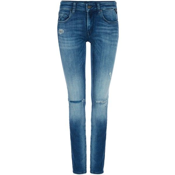 Replay Rose Skinny-fit Jeans (8,645 INR) ❤ liked on Polyvore featuring jeans, sale women jeans, skinny jeans, blue ripped jeans, ripped skinny jeans, blue distressed jeans and zipper skinny jeans
