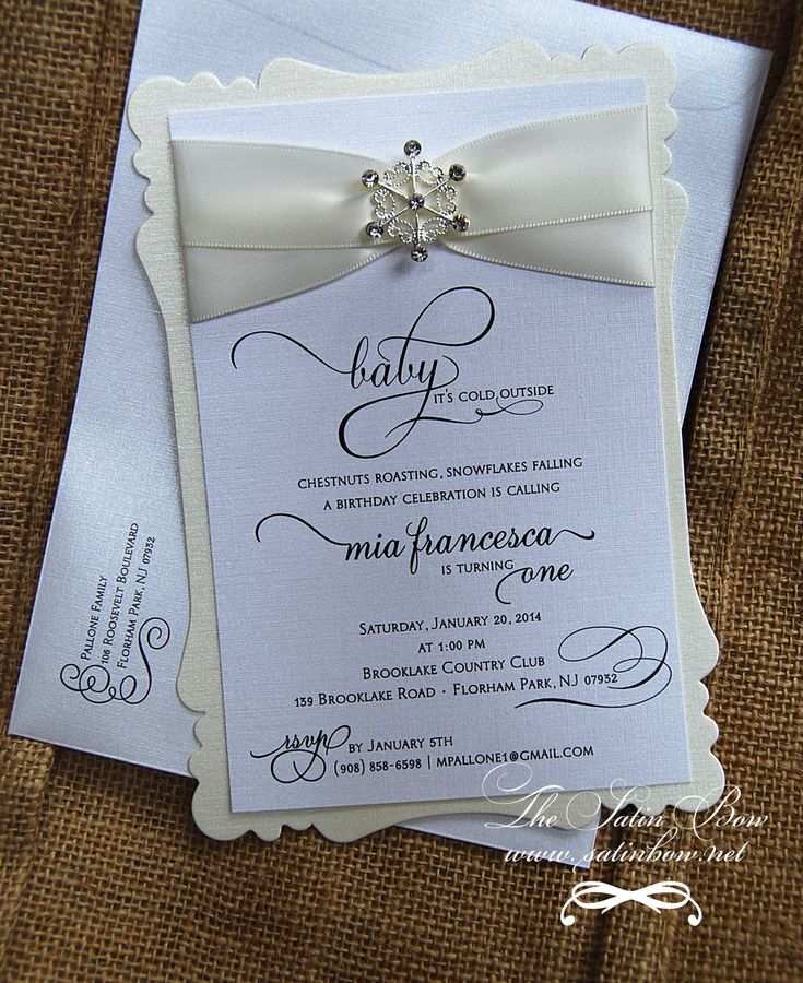 invitation words forst birthday party%0A Shabby Chic Winter Wonderland First Birthday Invitation Invite