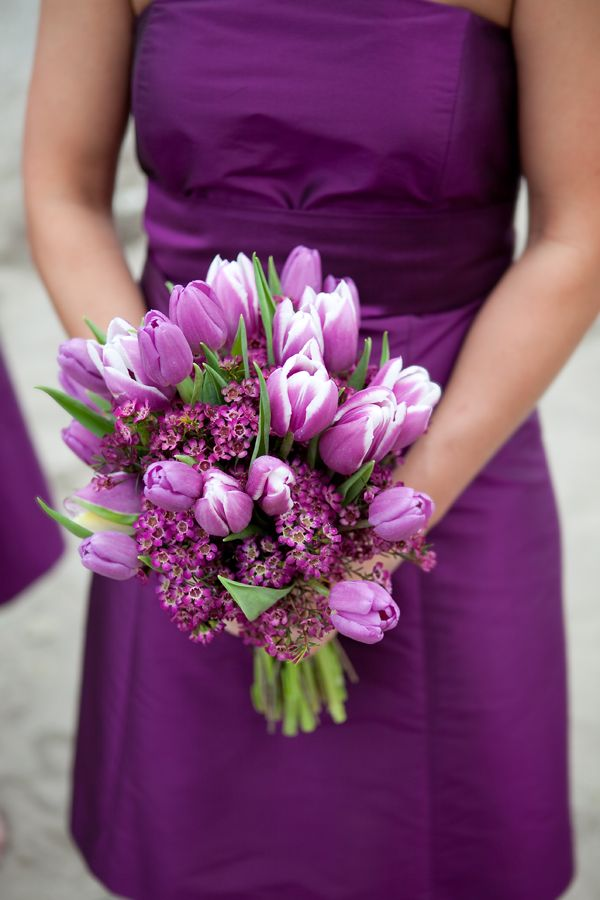 Gorgeous Purple Tulips And Lilac Bouquet