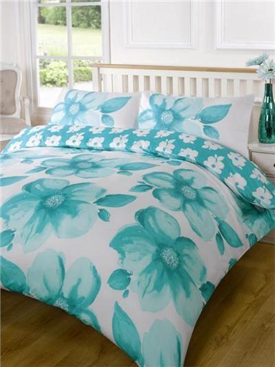 Big Teal Poppies Super King Size Bedding Duvet Quilt