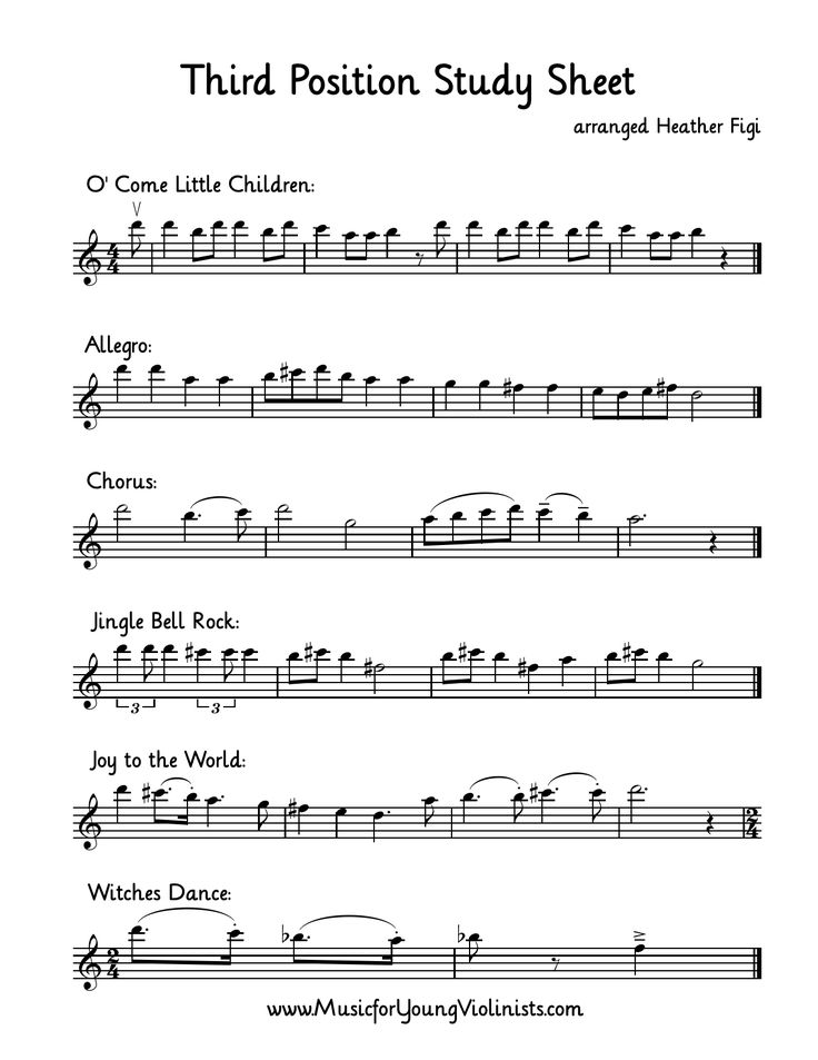 THIRD POSITION STUDY SHEET (part of the free Winter 2016 music packet available for a limited time only from www.musicforyoungviolinists.com). This worksheet has been such an empowering resource for my students who are just beginning third position. They get to combine their ears (review pieces), eyes (seeing the notes in the new range) and hands (all studies in the same range on the E string).
