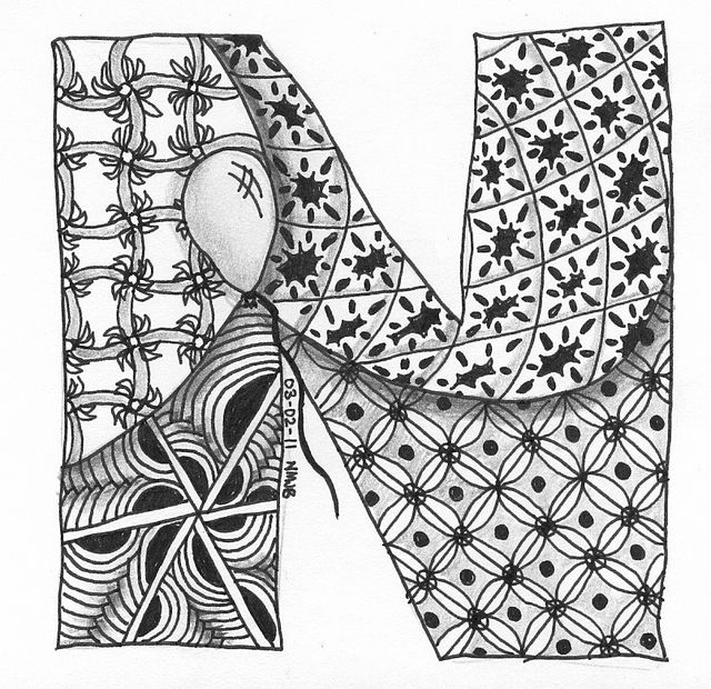 zentangle coloring pages letter n | 203 best Zentangle Letters images on Pinterest
