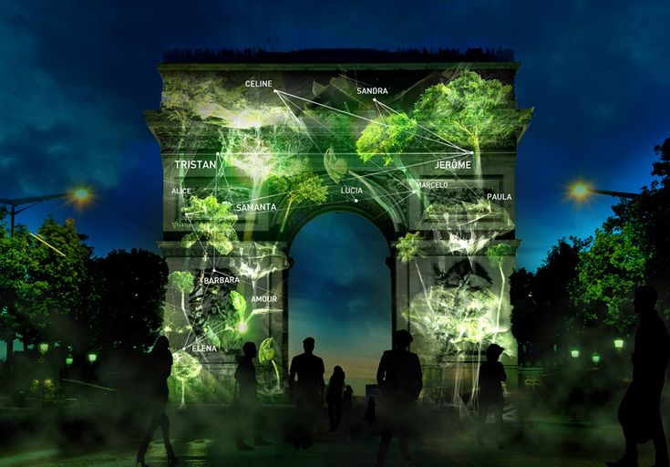 light art installation - naziha mestaoui projects virtual forests growing onto Paris monuments - designboom
