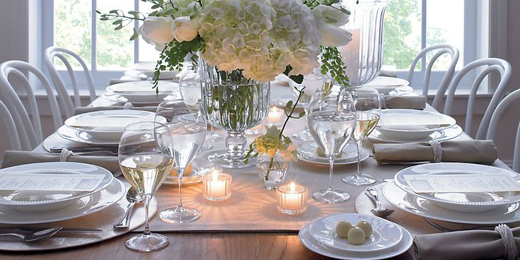 set the table, spring inspiration, hydrangea arrangement, simple white china