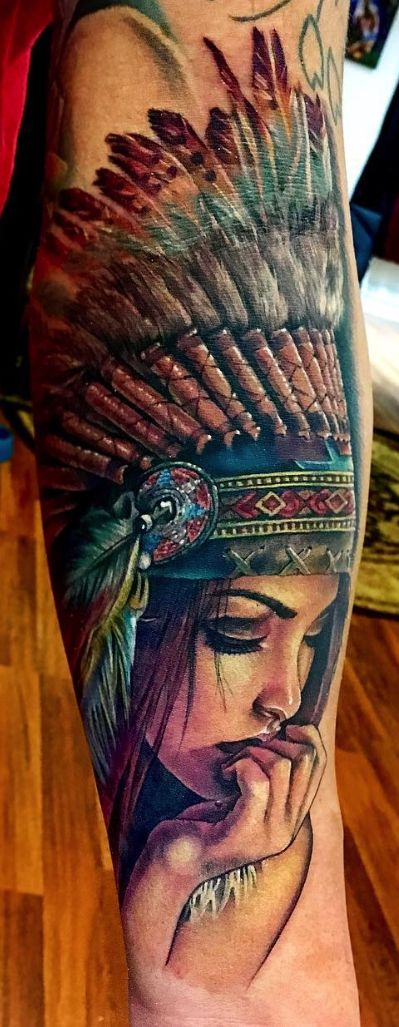 Native american woman tattoo