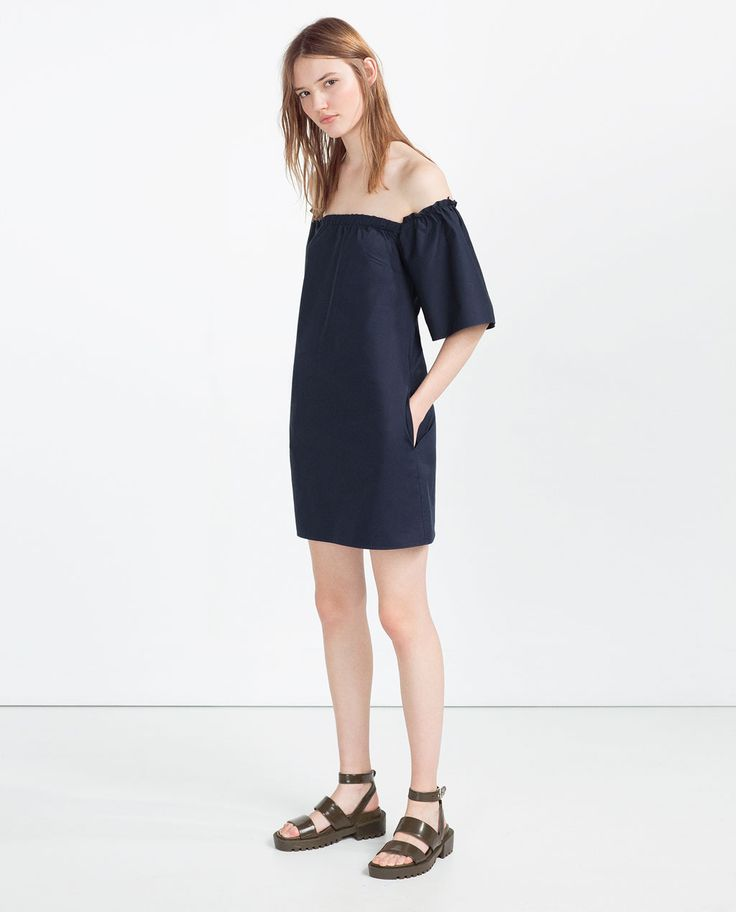 ZARA - WOMAN - OFF-THE-SHOULDER DRESS. Dark wash denim dresses- give me all of them!