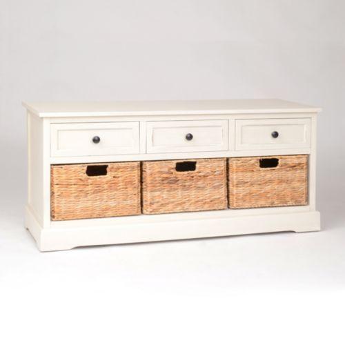 Ivory 6-Drawer Storage Bench with Baskets   Kirklands       DIY ~ doors with baskets on dhelves behind ~ playroom & haven