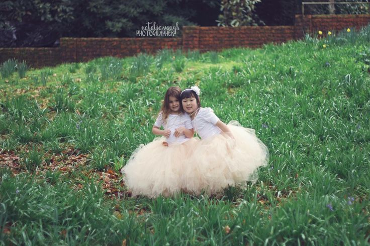 Long childrens tutus in beige, handmade by Romayse Tutus