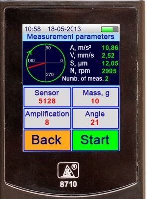 Vibration analyzer screen in the BALANCING Mode. BALANCING mode informational area shows the results of vibration parameters measurement, shaf rotation value, number of measurements, and also mass and angle of placement of trial or balancing load.