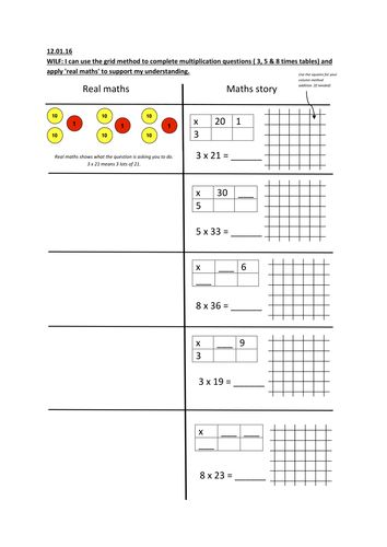 Grid method multiplication (using concrete - pictorial - abstract)