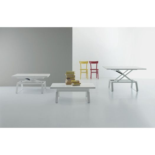 ALEX   Multi Functional Table Coffee Table To Table   White Laminate