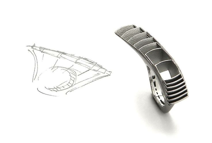 Vacuum 24 ring with its first sketch - By Stefania Lucchetta Design