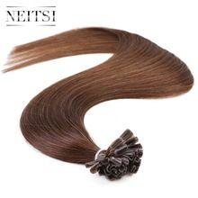 "Neitsi Indian Straight Keratin Human Fusion Hair Nail U Tip 100% Remy Human Hair Extensions 16"" 20"" 24"" 1g/s 50g Muti-Colors US $20.89"