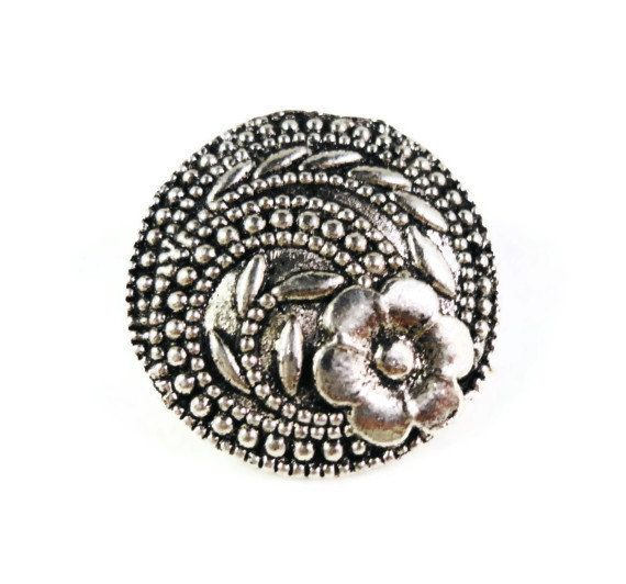 Flower Shank Buttons 17x7mm Antique Silver by BusyBeeBeadSupplies, $3.50