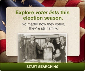 Explore voter lists this election season.  No matter how they voted, they're still family.  #genealogy