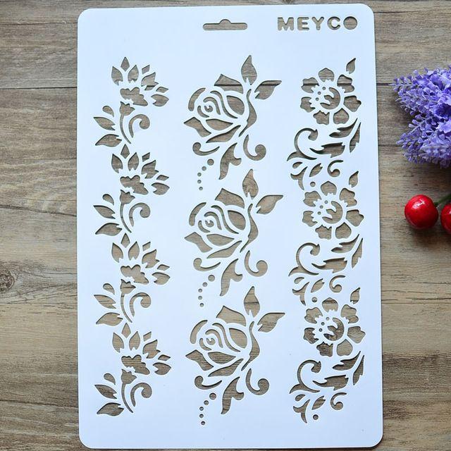 Arte de DIY Flor Capas Plantillas Para Paredes Pintura Scrapbooking Estampación…