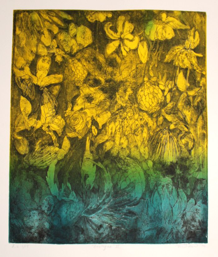 "Handmade graphic art print on Hahnemühle paper E/V II 1/15 ""Exotique"" 2014 32 x 37 cm  http://www.minnaristolainen.com/shop/wordpress/?product=graphic-art-printexotique-blue-and-yellow-version"