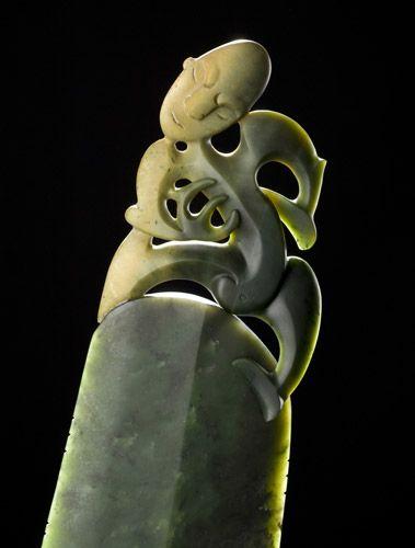 Artist Lewis Tamihana Gardiner, work in pounamu / greenstone