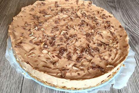 Een cheesecake met gezouten karamel met Tony chocolonely. Een tony chocolonely gezouten karamel cheesecake! Goddelijk! En low FODMAP!