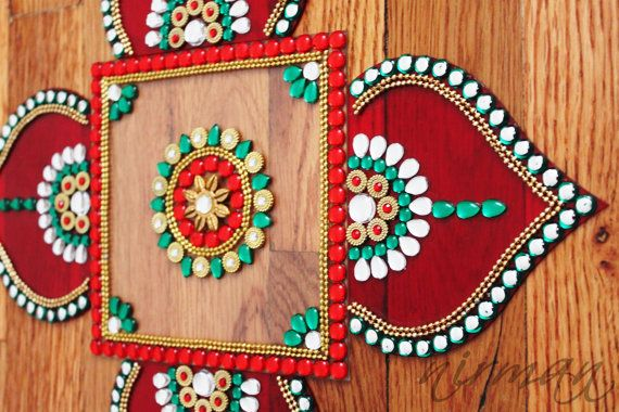 Rhinestone art, Kundan rangoli, Bollywood inspired Acrylic floor art Indian Wedding by Nirman