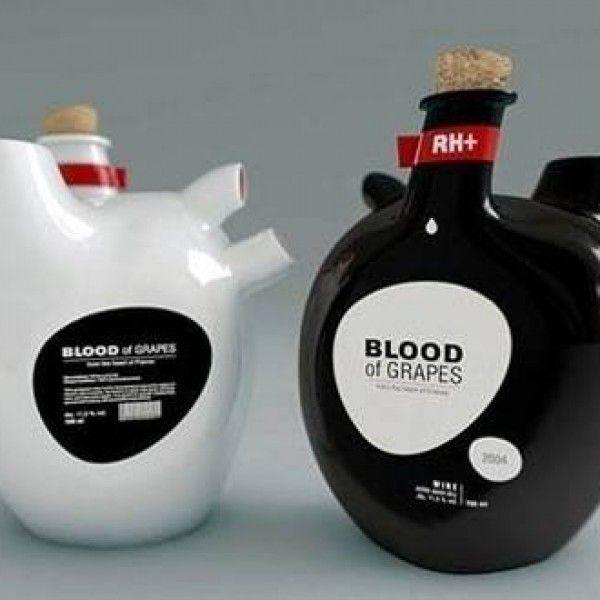 Blood of grapes wine bottle