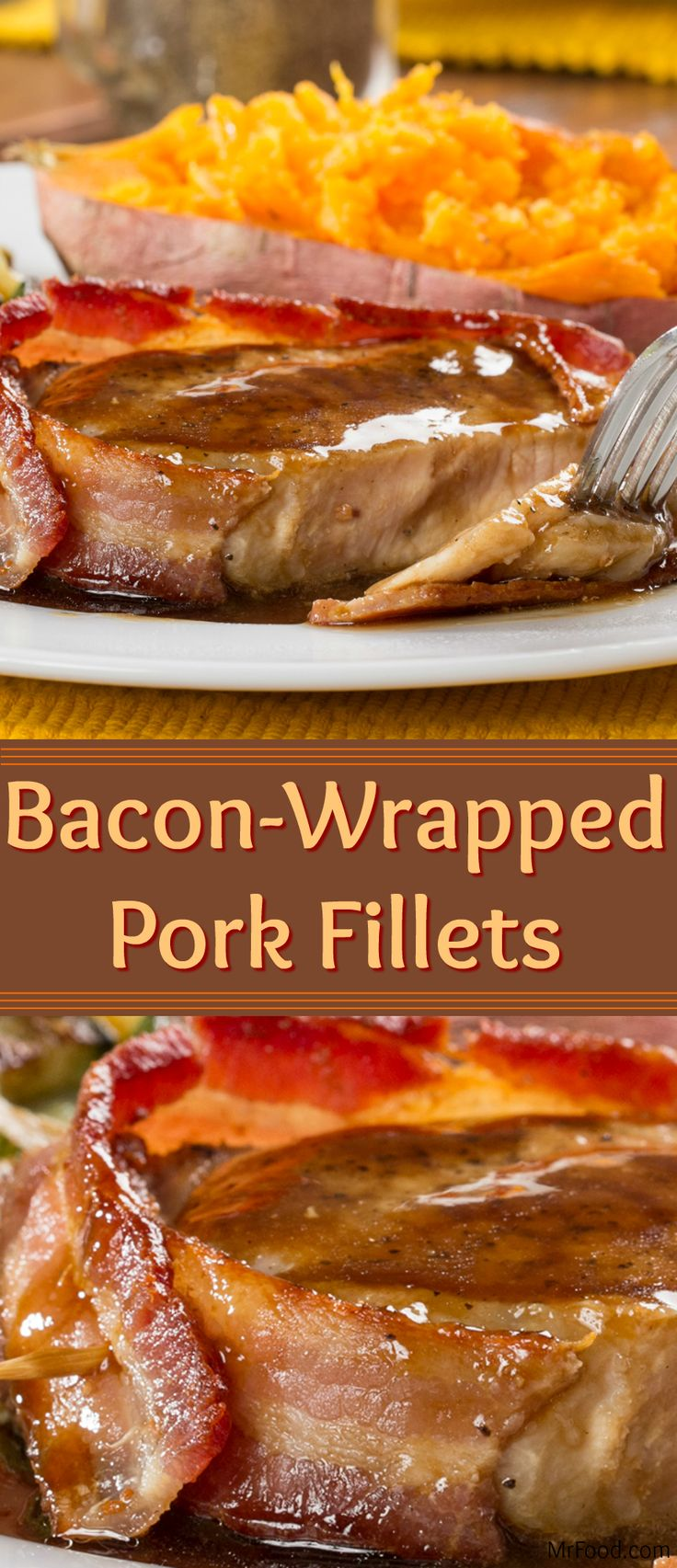 Recreate an entree that's restaurant-fancy in your own kitchen with our recipe for Bacon Wrapped Pork Fillets. Perfectly cooked pork loin fillets get wrapped up in pan-fried bacon strips and drizzled with a savory and flavor-packed glaze. It's mouthwatering-good!