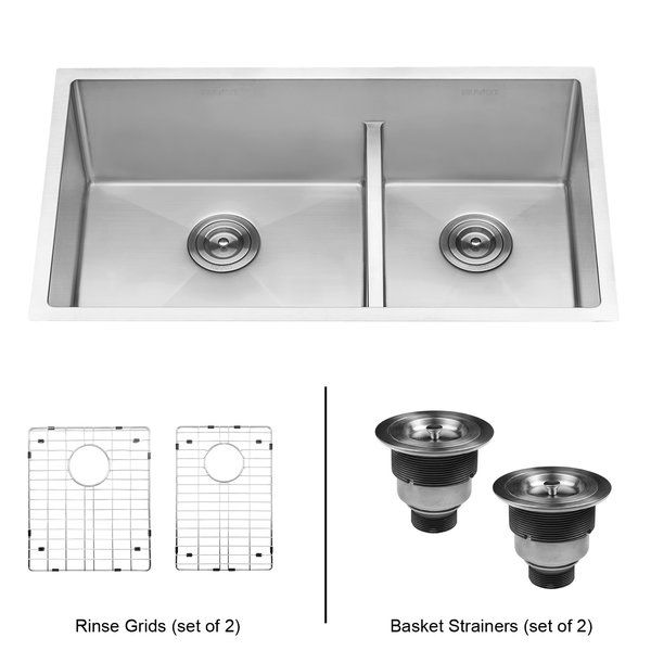 Tirana Low Aqua 33 L X 19 W Double Basin Undermount Kitchen Sink