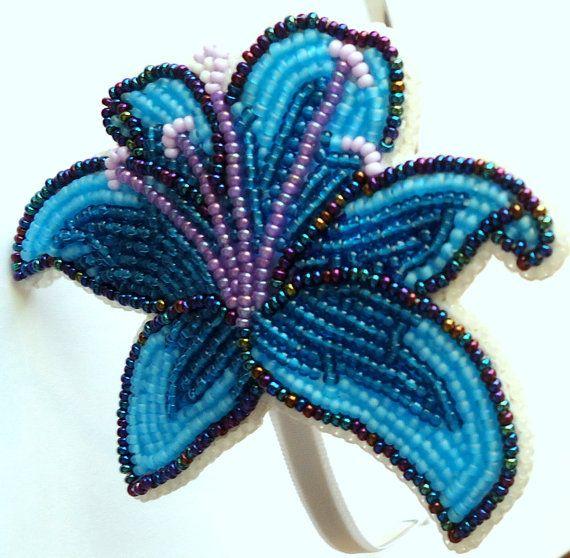 Blue Flower Headband-NATIVE AMERICAN BEADWORK by ashundiin on Etsy