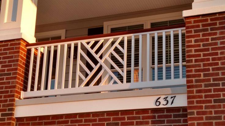 Custom fabricated Chippendale   vinyl railing. Ocean City Fence Co.