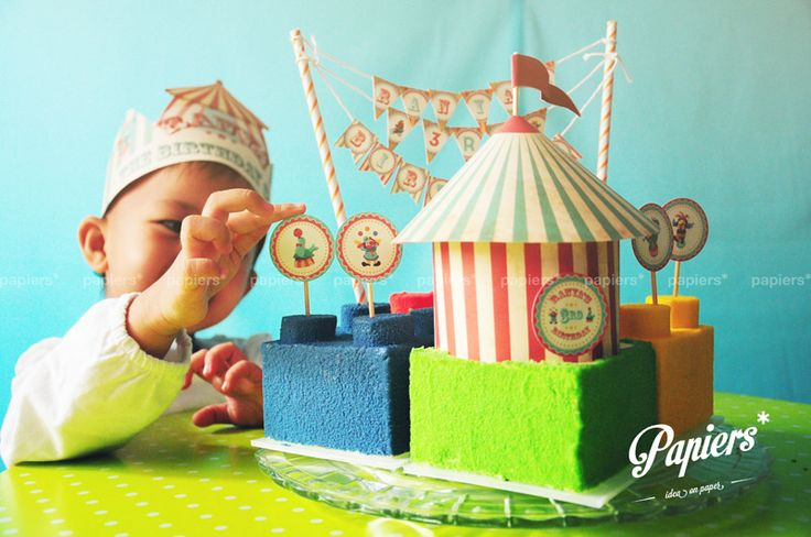 Party favors and decorations by Papiers*  #papiers #circus #birthday #party #customized #personalized #design #partyfavor #kids #colorful #caketopper #circustent #minibunting #topper