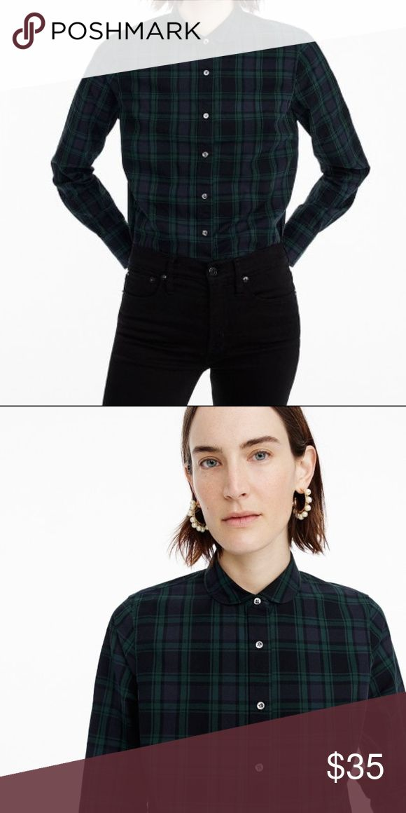 "J. Crew Club-collar perfect shirt in Black Watch Club-collar perfect shirt in Black Watch plaid Item F9294 Body length: 26 3/4"". Our perfect shirt features precisely placed darts for a slimming, waist-defining fit that's more tailored and polished than our boy shirt. J. Crew Tops Button Down Shirts"
